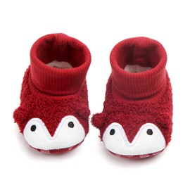 Red Penguin Pattern Baby Warm Cotton Anti-Slip First Walkers Shoes
