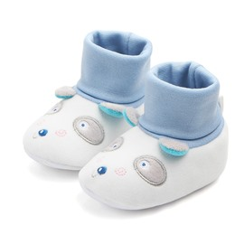 Blue Cute Dog Pattern Baby Warm Cotton Anti-Slip First Walkers Shoes