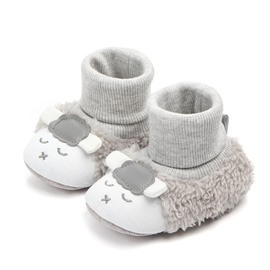 Grey Lamb Pattern Baby Warm Cotton Anti-Slip First Walkers Shoes