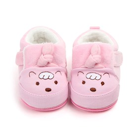 Pink Cartoon Bear Pattern Baby Warm Cotton Anti-Slip First Walkers Shoes