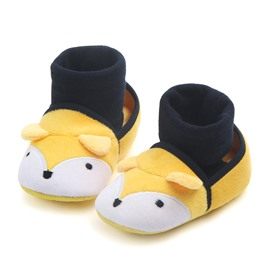 Cute Yellow Fox Pattern Baby Warm Cotton Anti-Slip First Walkers Shoes