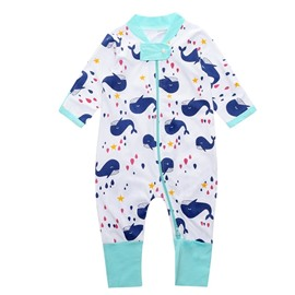 Dolphin Long Sleeve Covered Feet Cotton Zipper Infant Jumpsuit/Bodysuit