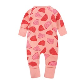 Red Watermelon Long Sleeve Covered Feet Cotton Zipper Infant Jumpsuit/Bodysuit