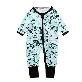 Long Sleeve Covered Feet Green Cotton Zipper Infant Jumpsuit/Bodysuit