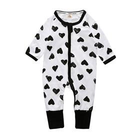 Love Heart Long Sleeve Covered Feet Cotton Zipper Infant Jumpsuit/Bodysuit