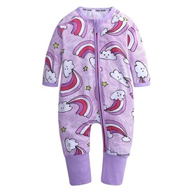 Purple Cloud Long Sleeve Covered Feet Cotton Zipper Infant Jumpsuit/Bodysuit