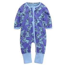 Purple Squirrel Long Sleeve Covered Feet Cotton Zipper Infant Jumpsuit/Bodysuit