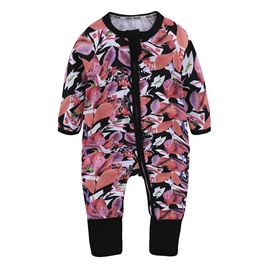 Red Leaf Long Sleeve Covered Feet Cotton Zipper Infant Jumpsuit/Bodysuit