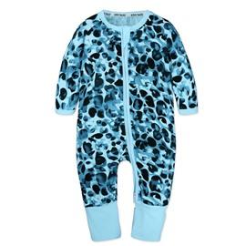 Blue Spot Long Sleeve Covered Feet Cotton Zipper Infant Jumpsuit/Bodysuit
