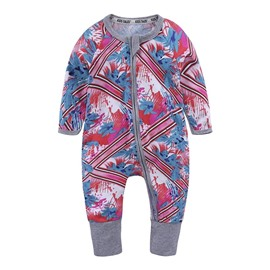 Red Long Sleeve Covered Feet Cotton Zipper Infant Jumpsuit/Bodysuit