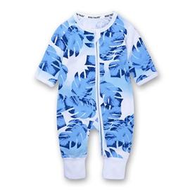 Blue Long Sleeve Covered Feet Cotton Zipper Infant Jumpsuit/Bodysuit