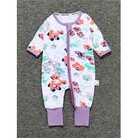 Purple Long Sleeve Covered Feet Cotton Zipper Infant Jumpsuit/Bodysuit
