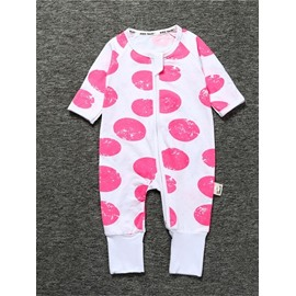 Pink Long Sleeve Covered Feet Cotton Zipper Infant Jumpsuit/Bodysuit