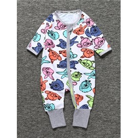 Long Sleeve Covered Feet Cotton Colorful Zipper Infant Jumpsuit/Bodysuit