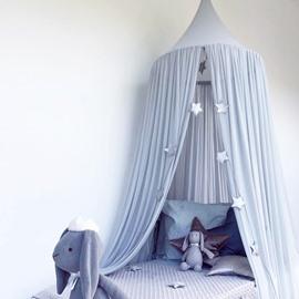Grey Blue Princess Style Chiffon Fabric Lace Decor Kids Round Canopy