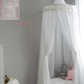 White Princess Style Cotton Fabric Tassels Decor Kids Round Canopy