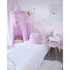 Pink Nordic Style Cotton Fabric Tassels Decor Kids Round Canopy