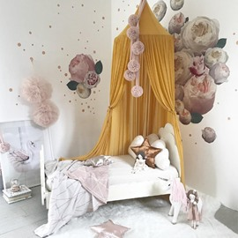 Yellow Nordic Style Chiffon Fabric Home Decor Kids Round Canopy