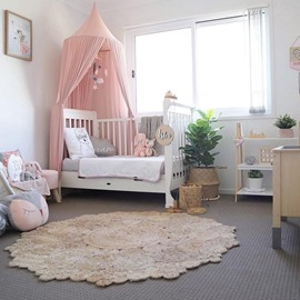 Chiffon Fabric Princess Style Home Decor Kids Pink Round Canopy