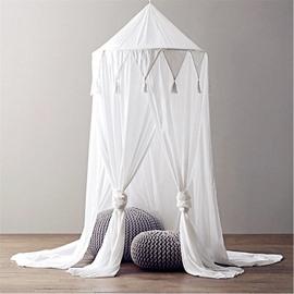 Chiffon Fabric Princess Style Tassels Decor Kids White Round Canopy