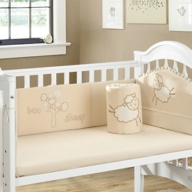 Adorable Little Sheep Pattern 4-piece Crib Bedding Set