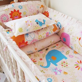 Lovely Animals Print 10-Piece Cotton Baby Crib Bedding Set
