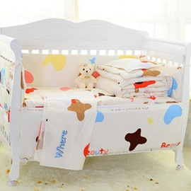Cute Letters and Cow Pattern Cotton Crib bedding Set