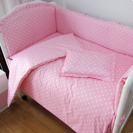 Baby Pink Polka Dot Pattern Crib Bedding Set