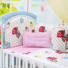 Polka Dot and Strawberry Pattern Crib Bedding Sets