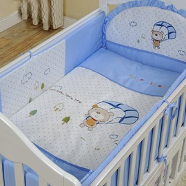 Cute Bear with Parachute Print 10-Piece Crib Bedding Sets