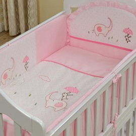 Pink Elephant and Rabbit Print 10-Piece Crib Bedding Sets