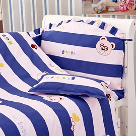 Bear in Glasses and Stripes Pattern 10-Piece Crib Bedding Sets