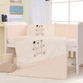Super Cute Bear Print 7-Piece Cotton Baby Crib Bedding Set