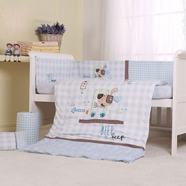 Light Blue Naughty Dog Print 7-Piece Cotton Baby Crib Bedding Set