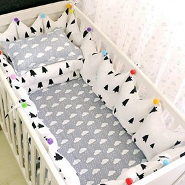 Gray Trees Pattern 9-Piece 100% Cotton Baby Crib Bedding Set