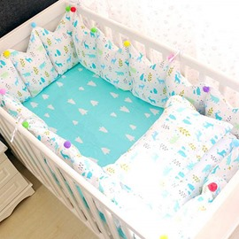79 Bright Cartoon Elks Pattern 9 Piece Cotton Baby Crib Bedding Set