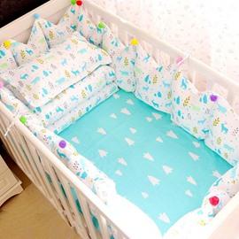Bright Cartoon Elks Pattern 9-Piece Cotton Baby Crib Bedding Set