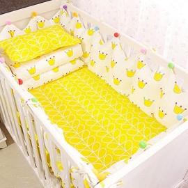 Adorable Cartoon Crowns Pattern 9-Piece Cotton Baby Crib Bedding Set