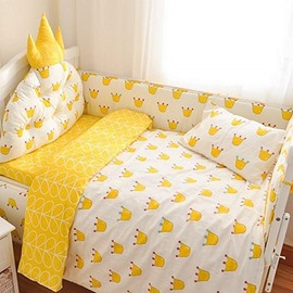 Bright Princess Theme Cartoon Crowns Pattern 9-Piece Cotton Baby Crib Bedding Set