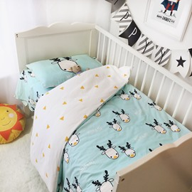 Deer and Triangles Printed 3-Piece Crib Bedding Set