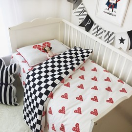 Hearts and Swallow Grid Printed 3-Piece Crib Bedding Sets