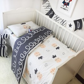 Pineapples and Wave Lines Printed 3-Piece Crib Bedding Sets