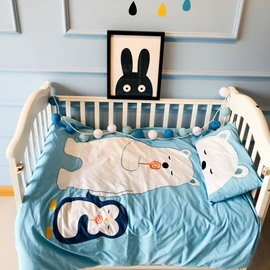 White Bear Printed Cotton Light Blue 3-Piece Crib Bedding Sets
