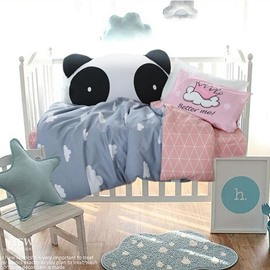 Clouds Printed Cotton Blue and Pink 3-Piece Crib Bedding Sets
