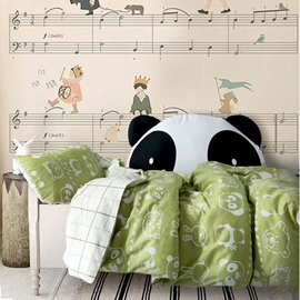 Cartoon Animals Printed Cotton Green and White 3-Piece Crib Bedding Sets