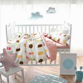 Ice Creams Printed Cotton White and Pink 3-Piece Crib Bedding Sets