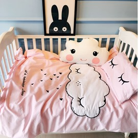 White Cloud Printed Cotton Pink 3-Piece Crib Bedding Sets