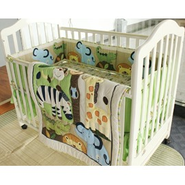 Cartoon Animal Printed 4-Piece Crib Bedding Sets