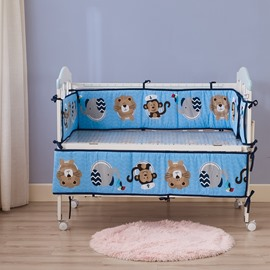 Lion and Monkey Cartoon Animal Printed Blue 4 Baby Crib Bumpers