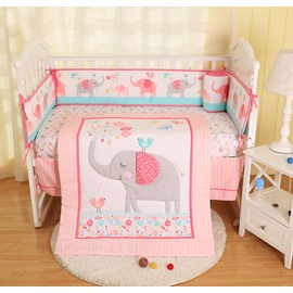 Elephant and Flower Cartoon Animal Printed Pink 4-Piece Crib Bedding Sets